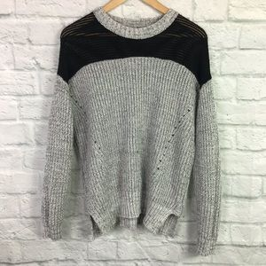 Sparkle & Fade Small Oversized Sweater Gray Black